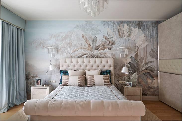 Панорамные обои можно наклеить в спальне