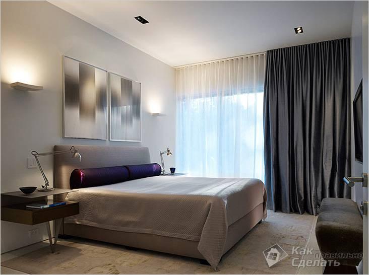 Для затемнения спальни выбраны темные плотные шторы