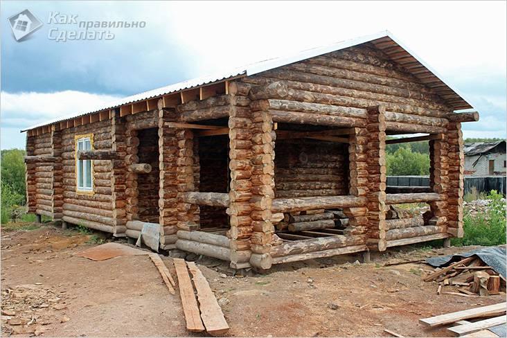 Дом из окоренного бревна