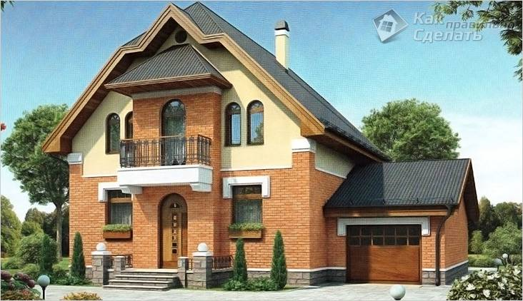 Двухэтажный кирпичный дом с гаражом