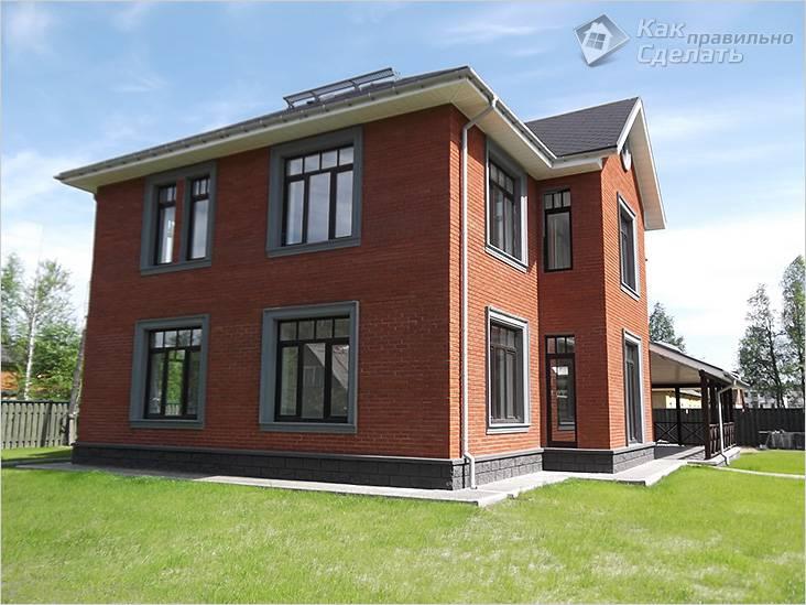Кирпичный двухэтажный дом простой планировки
