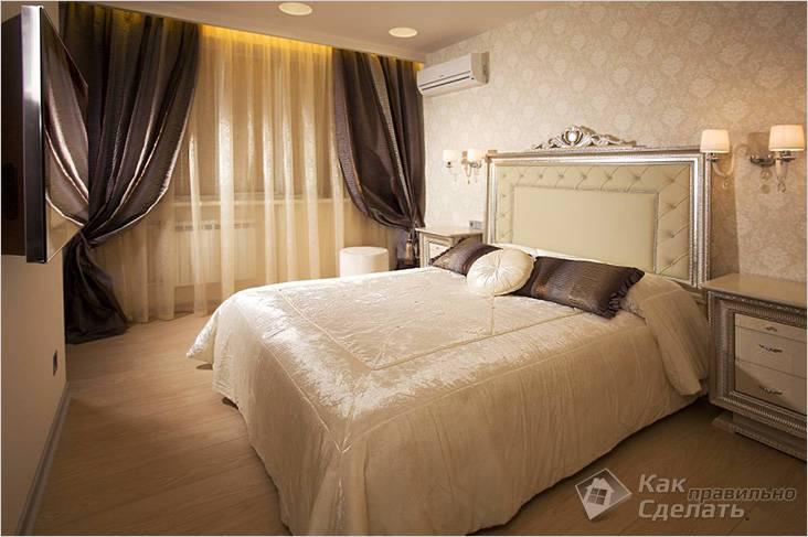 Классические шторы в спальне