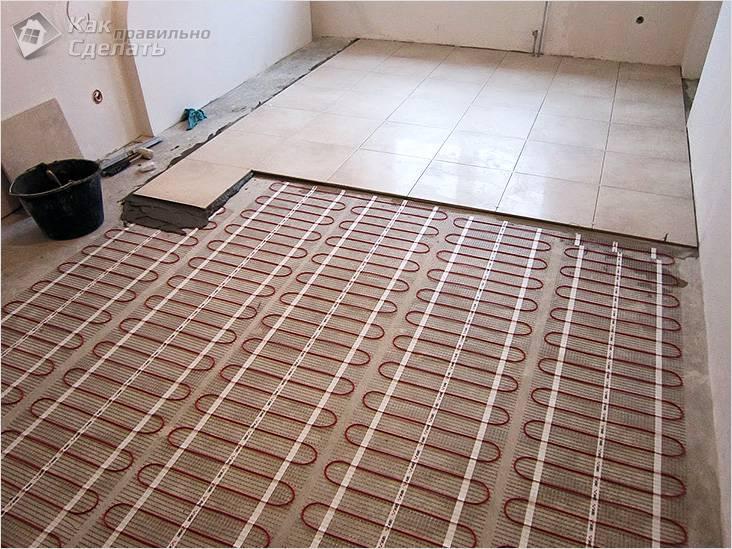 Монтаж плитки на теплый пол