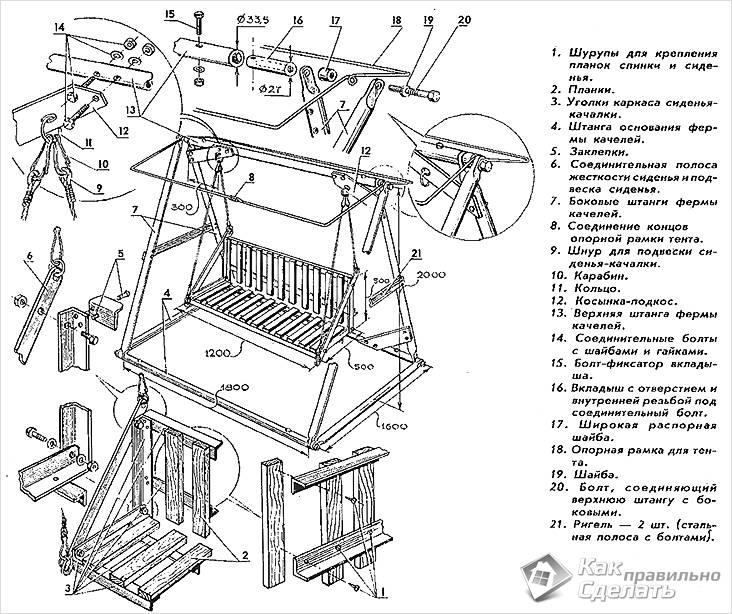 Подробная схема изготовления качели