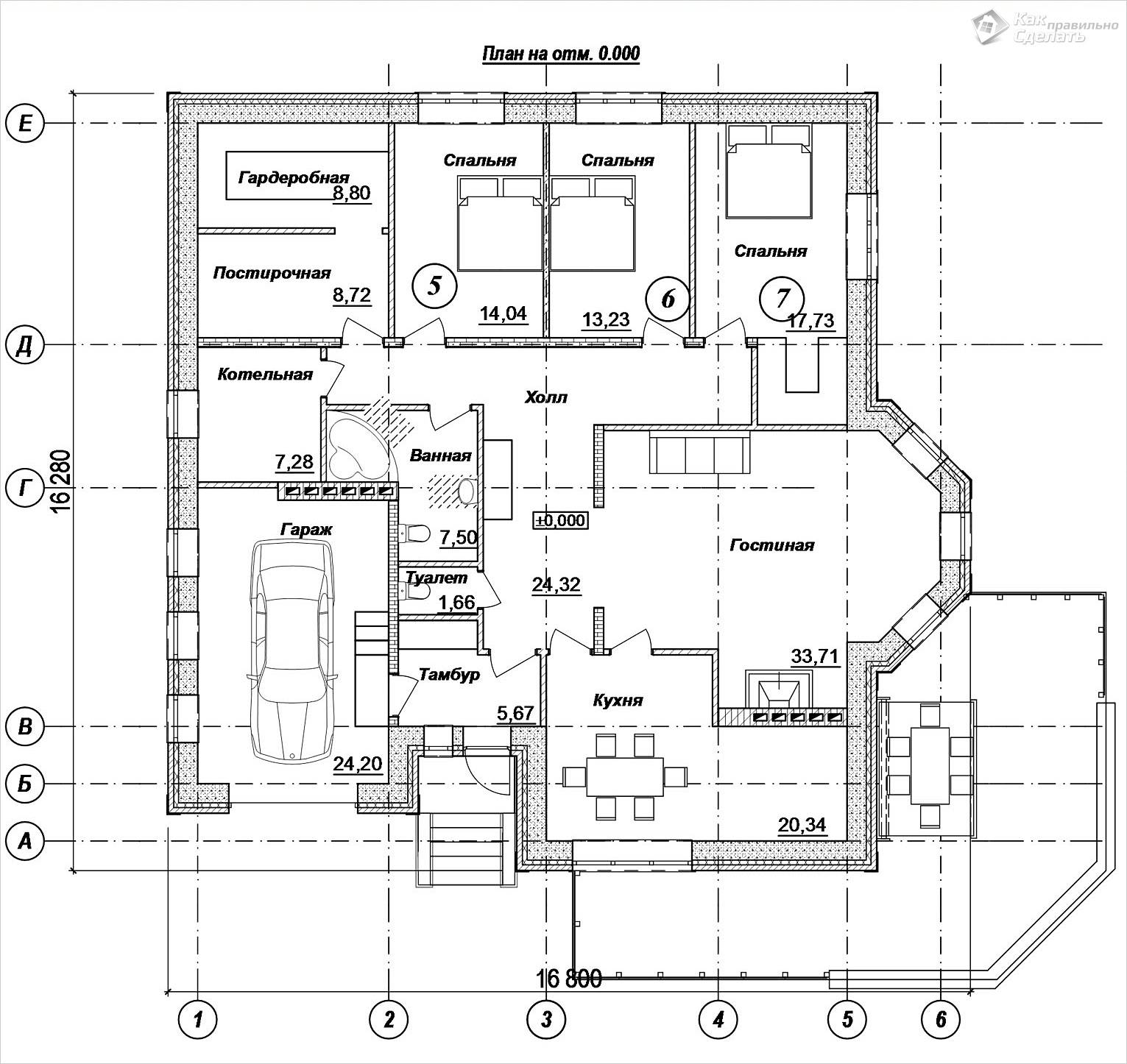 Проект одноэтажного кирпичного дома 250 м2