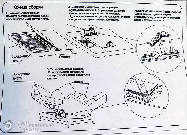 Схема дивана клик-кляк