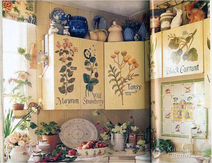 Переделка старого кухонного гарнитура в стиле декупаж