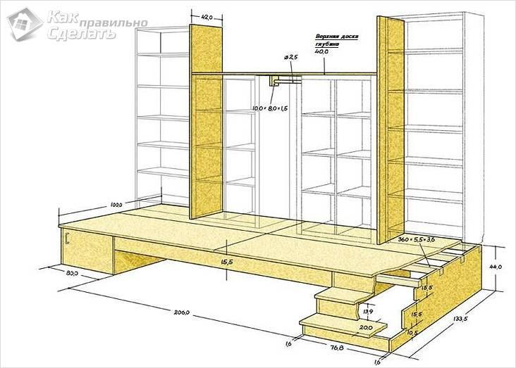 Схема деревянного каркасного подиума