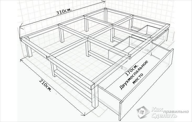 Схема выдвижной кровати