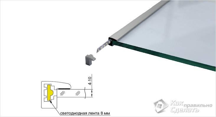 Установка светодиодной ленты в профиль