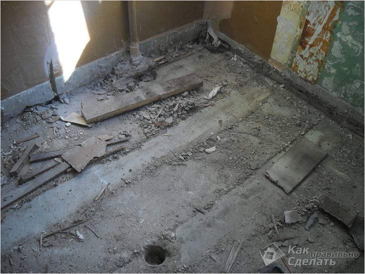 Под полом может находиться бетонная стяжка