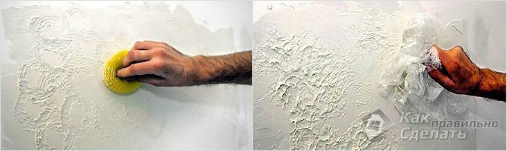 Рисунок с помощью губки и полиэтилена