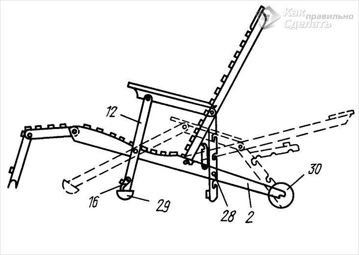 Схема конструкции шезлонга