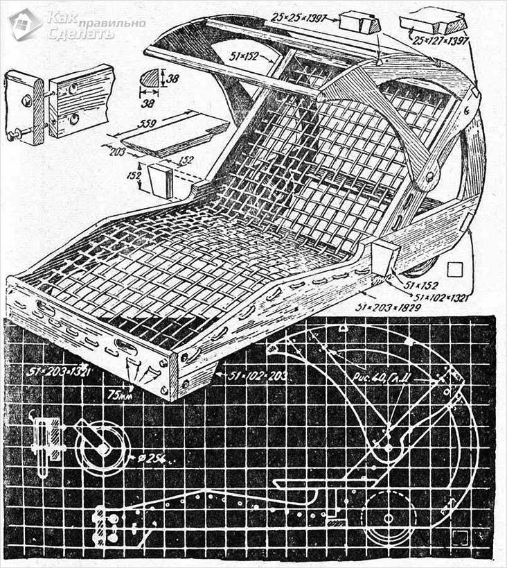 Схема шезлонга с навесом