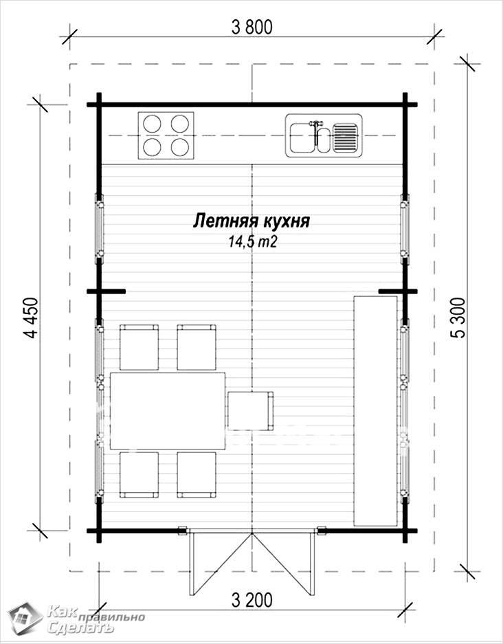Чертеж прямоугольной летней кухни