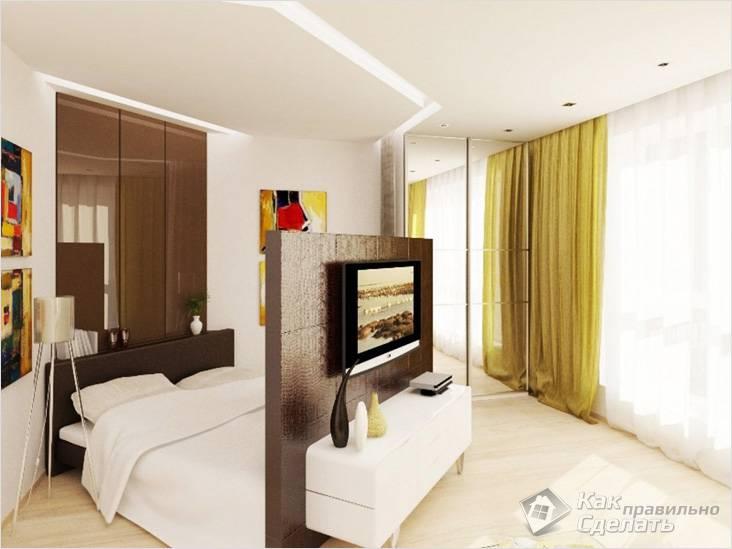 Диагональное разделение на гостиную и спальню