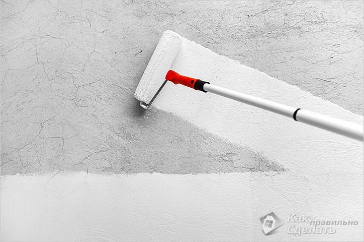 Грунтование поверхности чистой стены