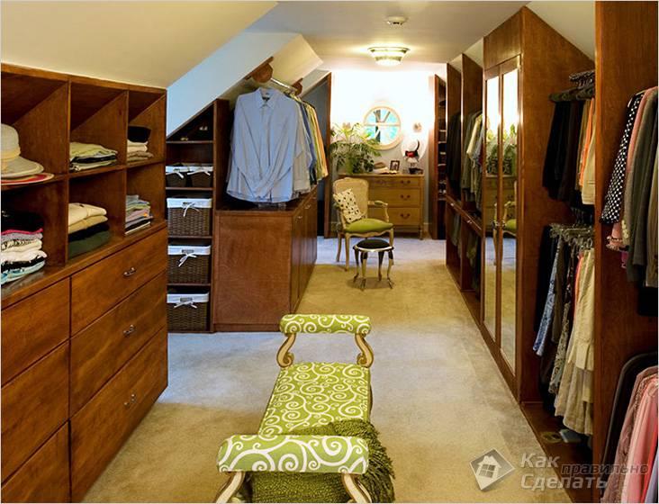 Использование чердака под гардеробную