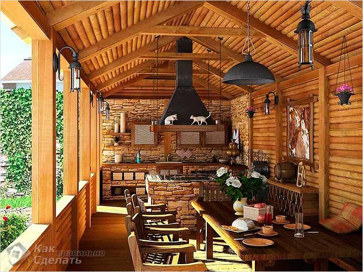 Летняя кухня с необходимыми коммуникациями