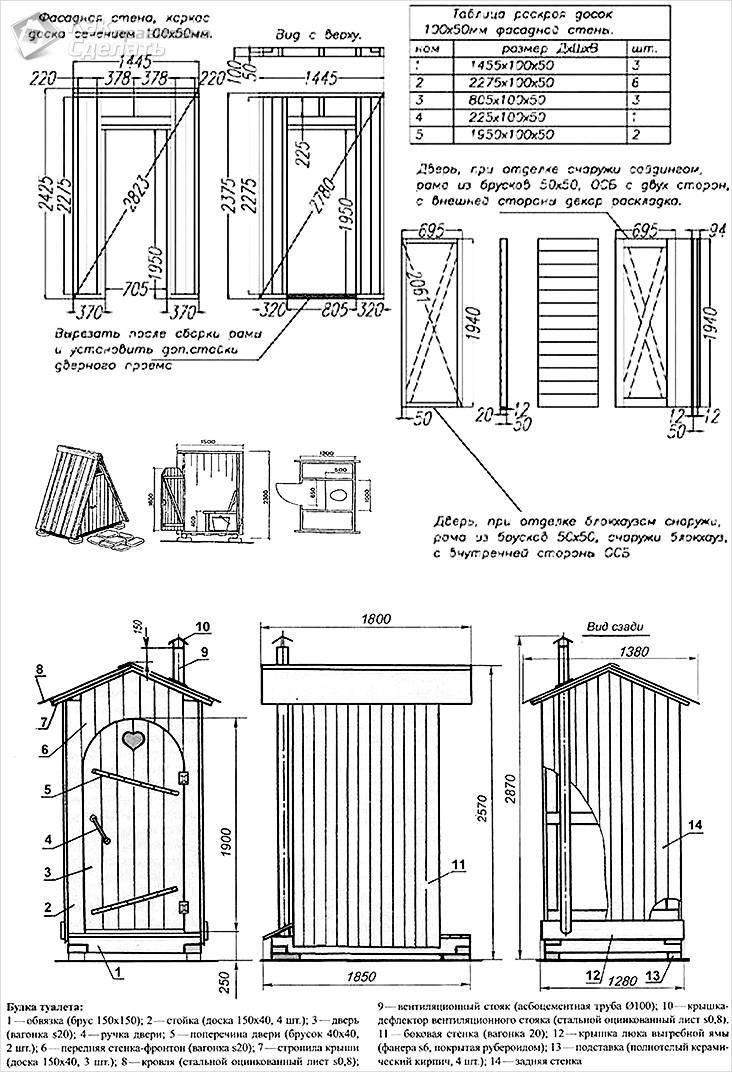 Подробный чертеж туалета