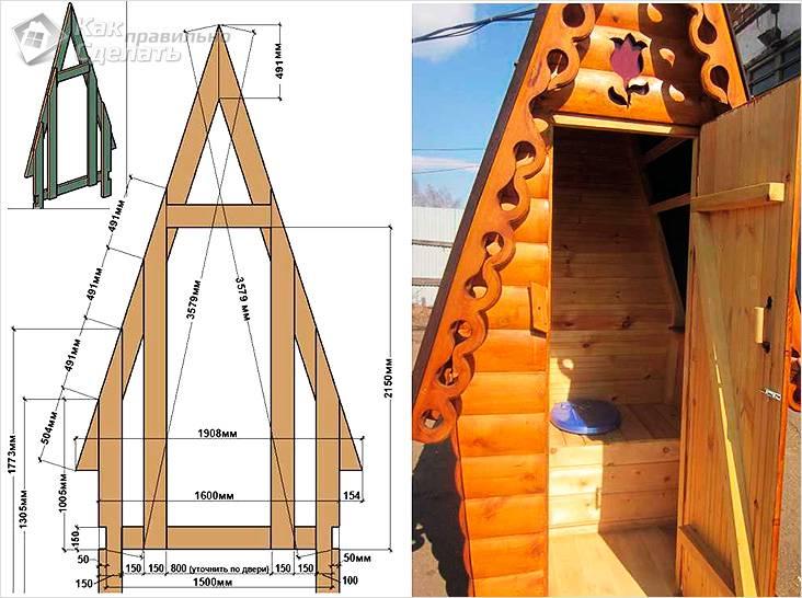 Схема и фото туалета теремок