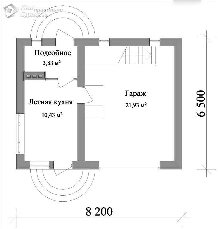 Схема летней кухни и гаража