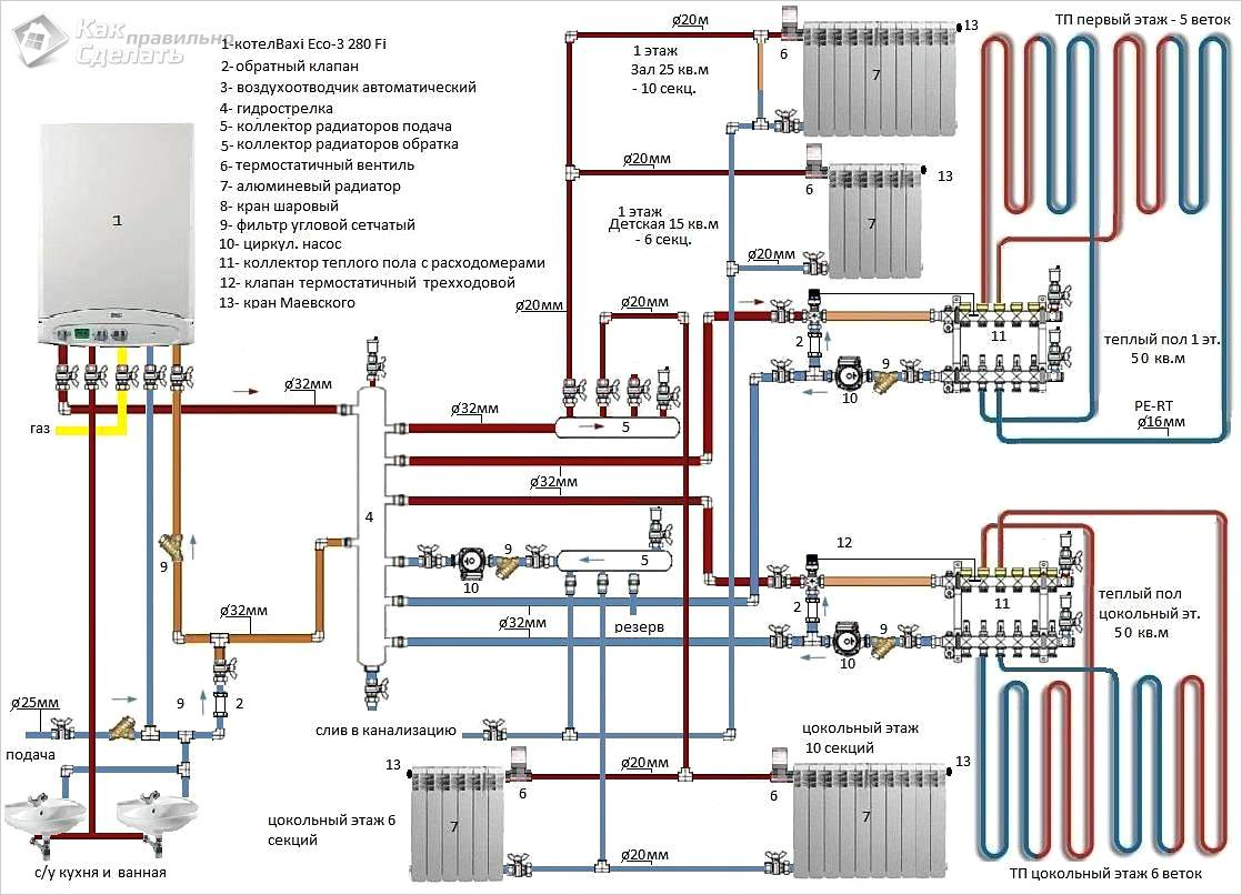 Схема обвязки котла Baxi Eco для двухэтажного дома