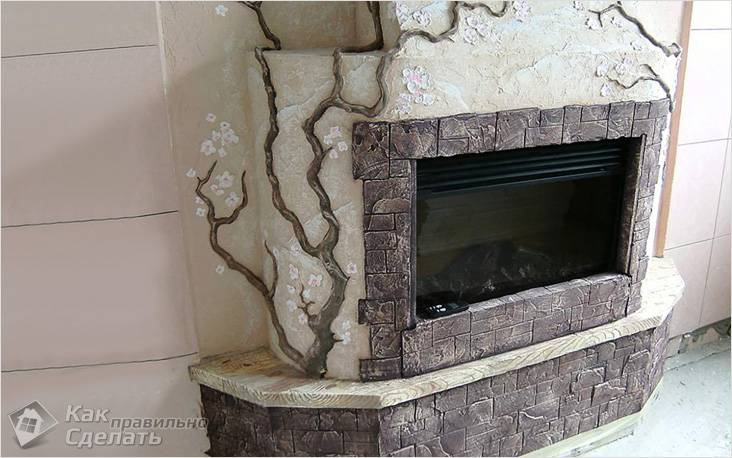 Гипсовый камин в интерьере