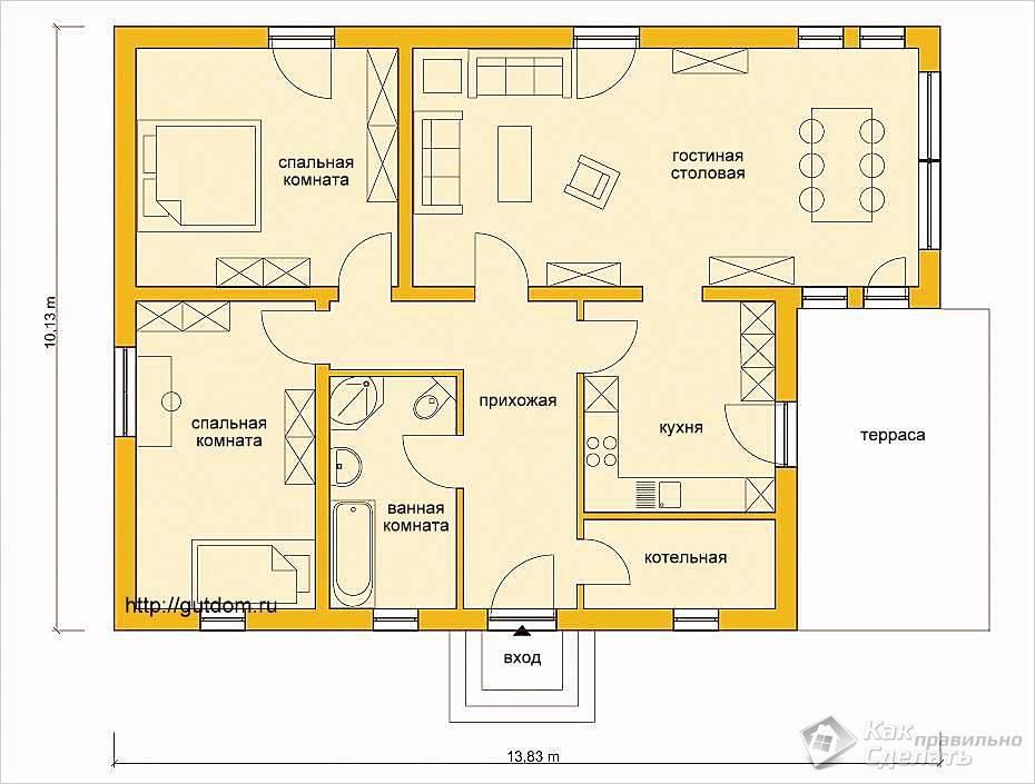 План одноэтажного дома из газобетона