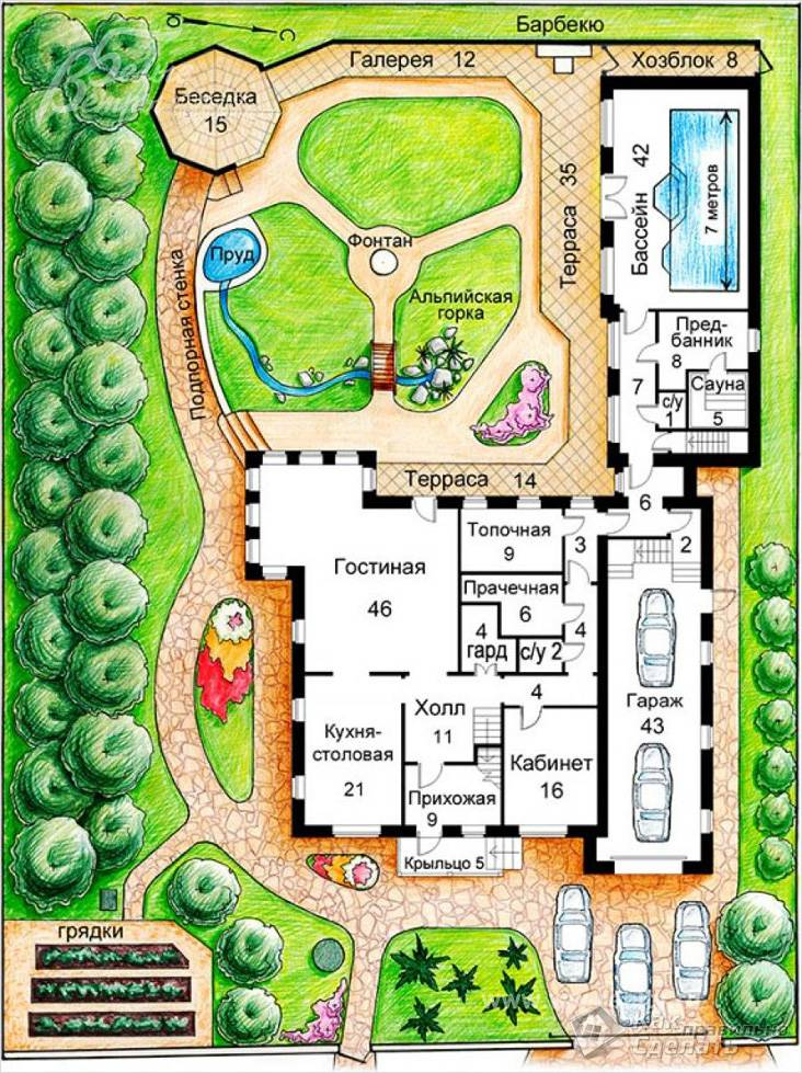 Планировка большого участка с бассейном