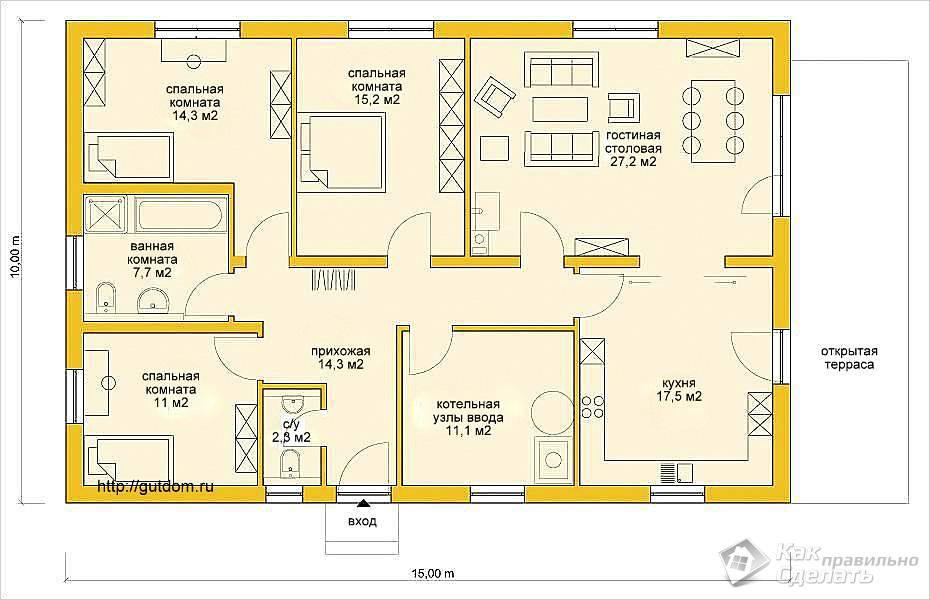 Планировка помещений одноэтажного дома из газобетона