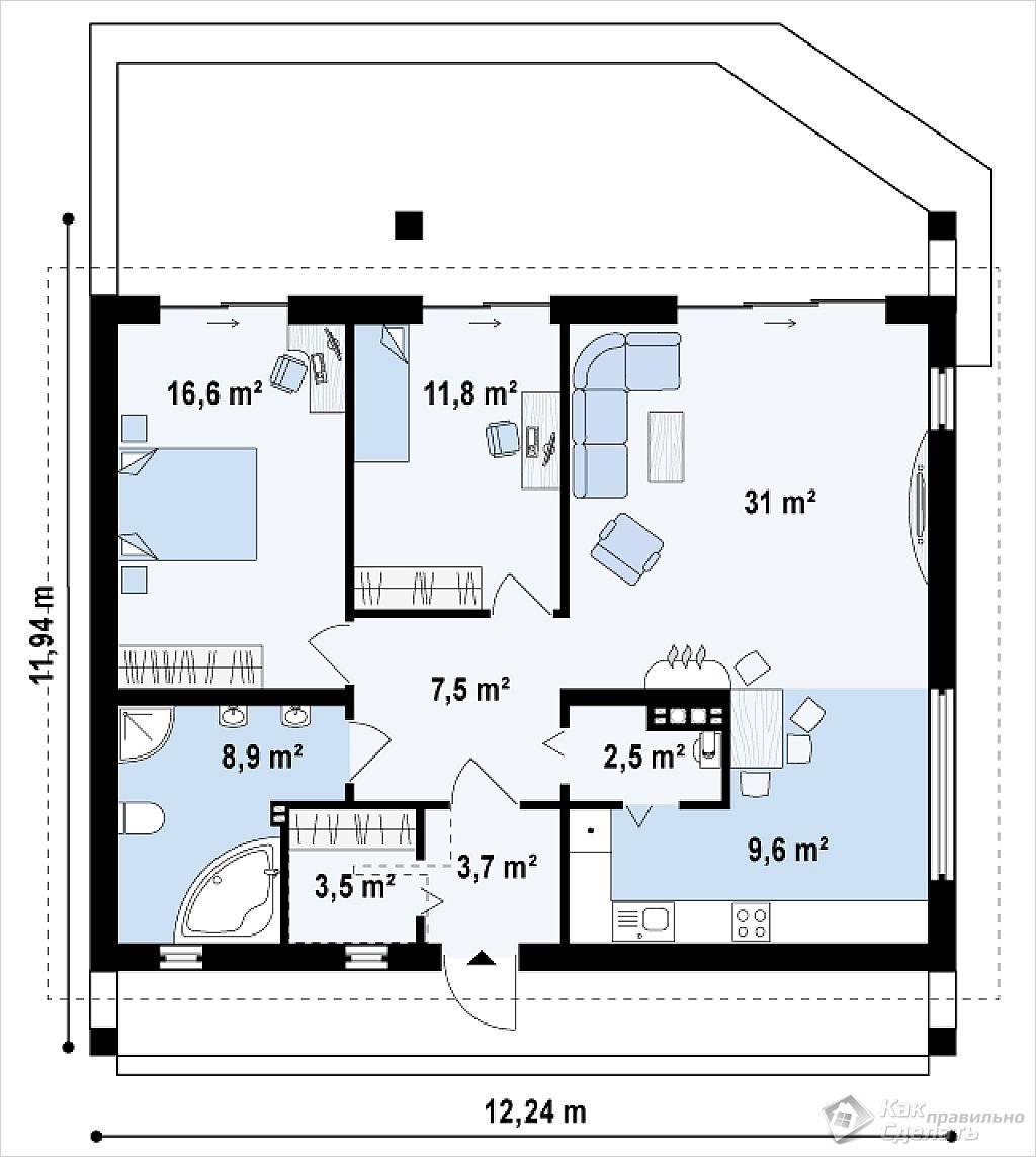 Проект одноэтажного дома 1294×1224