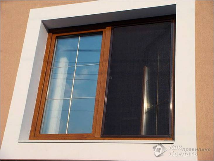 Сетка на деревянном окне