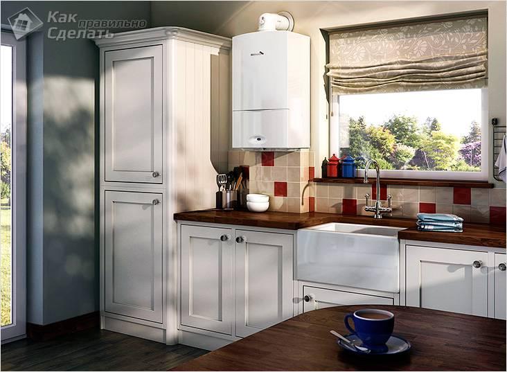 Установка котла на кухне