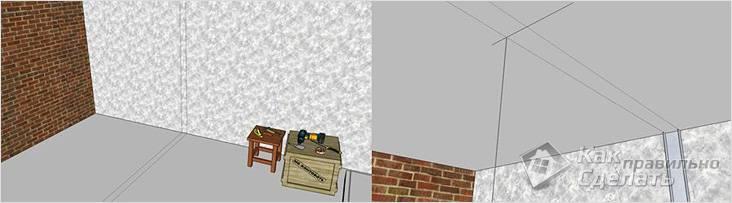 Разметка на полу, потолке и стене