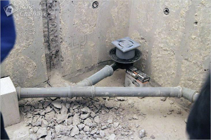 Укладка отводной трубы