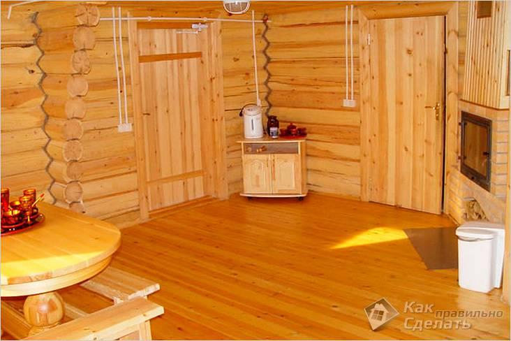 Обработка деревянного пола в бане