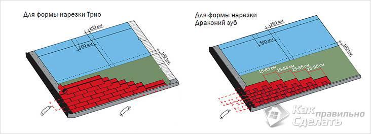 Диагональный и горизонтальный типы укладки