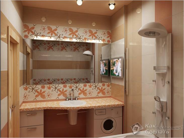 Рациональный интерьер маленькой ванной