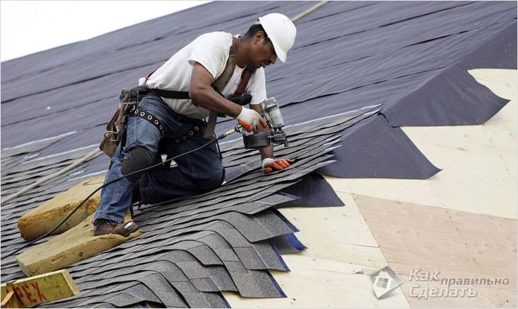 Укладка на ребрах крыши
