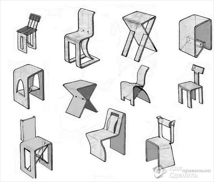 Эскизы стульев из фанеры