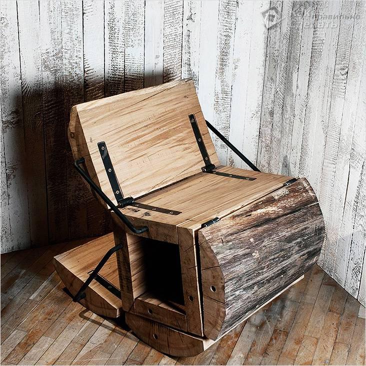 Оригинальный стул из пенька