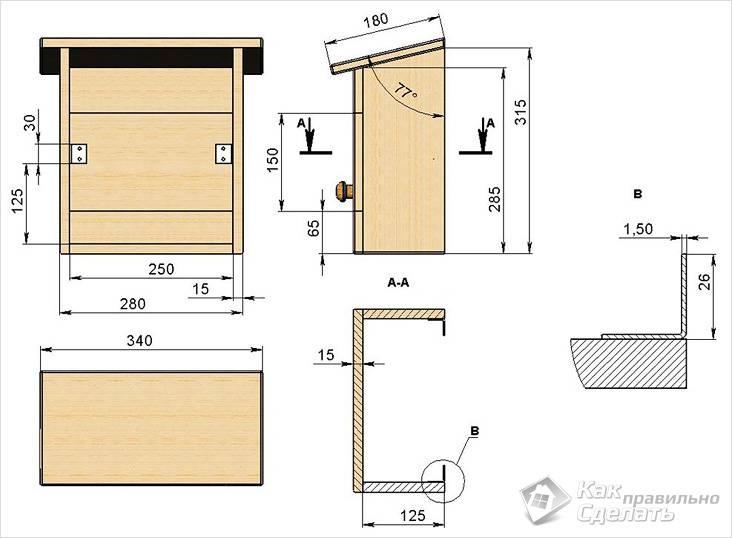 Схема деревянного почтового ящика