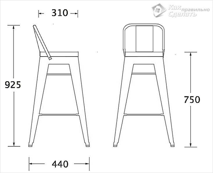 Схема стандартного барного стула