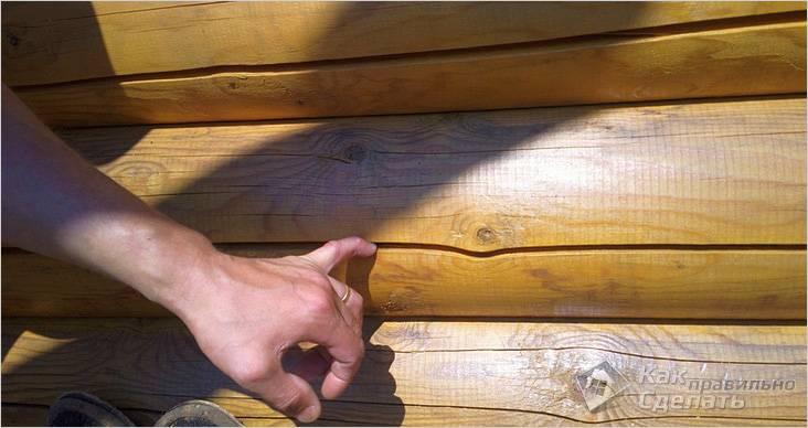 Трещины в бревнах сруба