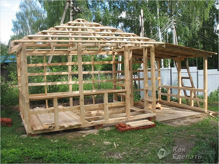 Возведение каркаса деревянной беседки