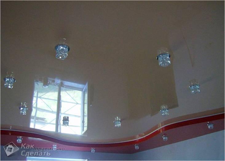 Потолок из гипсокартона своими руками со светодиодной