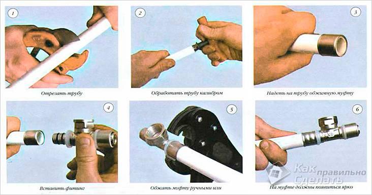 Соединение металлопластиковых труб при помощи пресс-фитингов