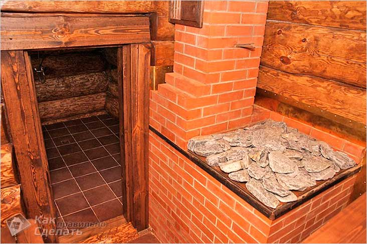 Кирпичная печь-каменка