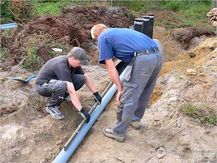 Определение уровня уклона трубы канализации